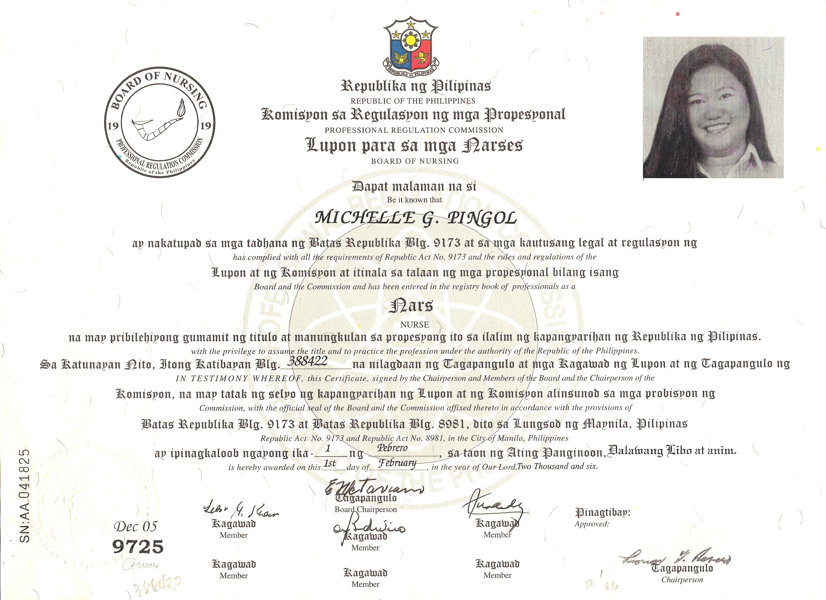 Philippines Certification Of Nursing Registrationg In Profile